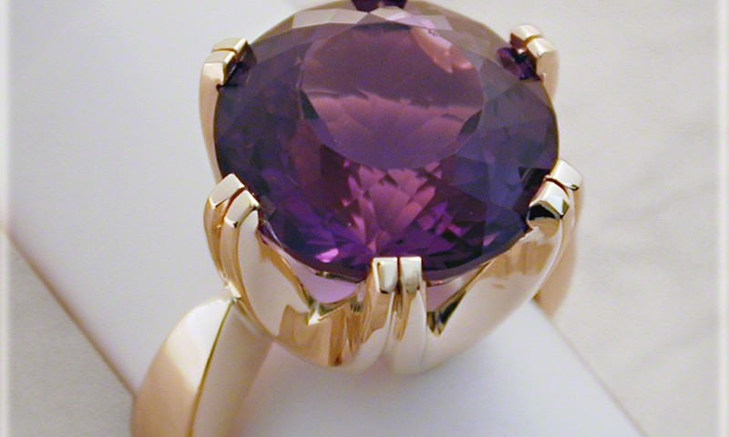 Six Prong Amethyst Ring