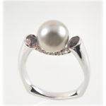 Cradle Ring South Sea Pearl Sapphire Diamonds