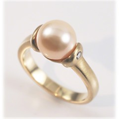 Cupped Pearl Ring