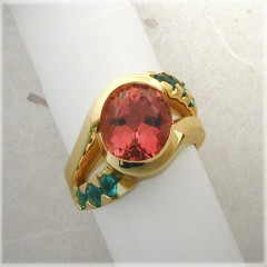Pink and Paraiba Tourmaline  Ring