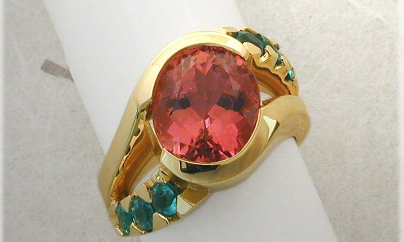 Pink and Paraiba Tourmaline  Ring