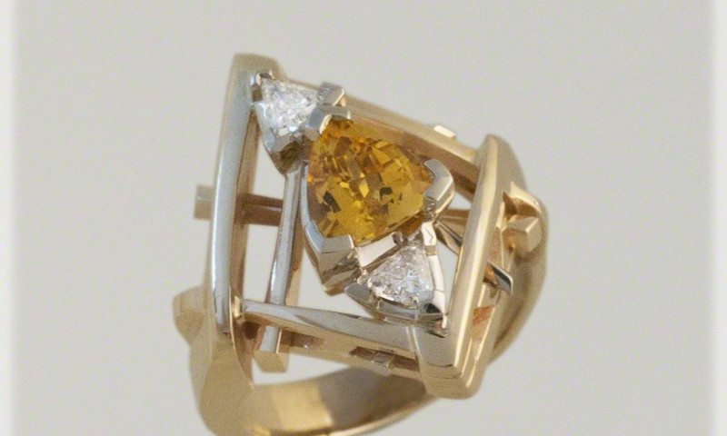 Raft Ring with Golden Sapphire and Diamonds