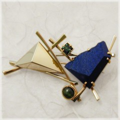 Raft Pin With Lapis And Tourmalines