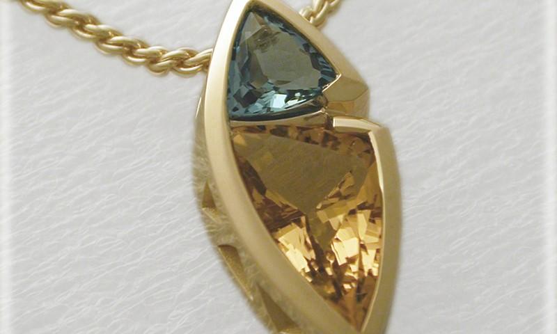 Freeform Golden Beryl And Aquamarine Pendant